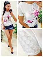 Блуза с принтом и стразами креп-шифон