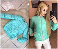 Женская модная мятная куртка без ворота на змейке