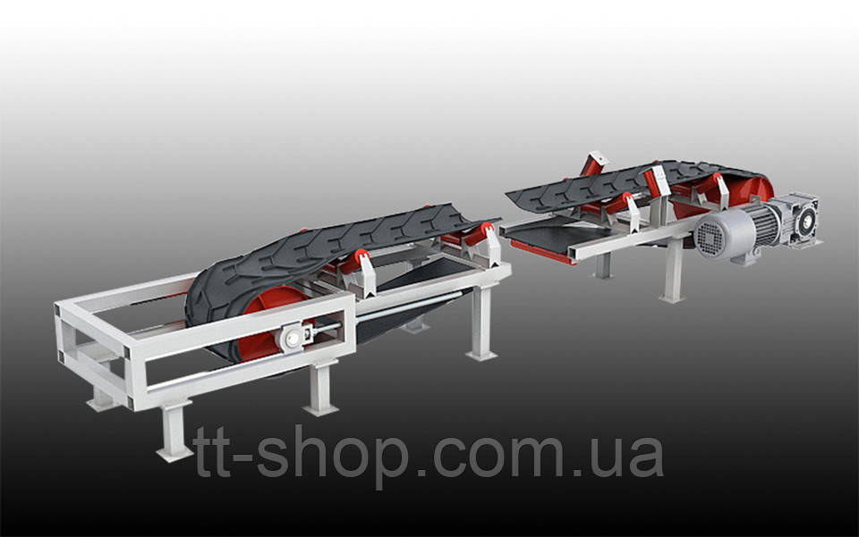 Ленточный желобчатый конвейер длинной 10 м, ширина ленты 800 мм