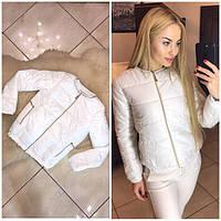 Женская модная белая куртка без ворота на змейке