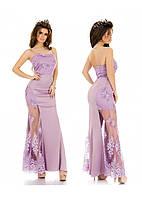 Шикарне довге плаття з квітами на сіточці.Р-ри 42-46