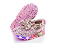 """Слипоны туфли """"Ушки Зайки"""" с мигалками подсветкой. Размер 25-30"""