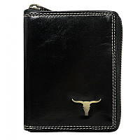 Мужское кожаное портмоне RM-01Z-BAW Black на молнии