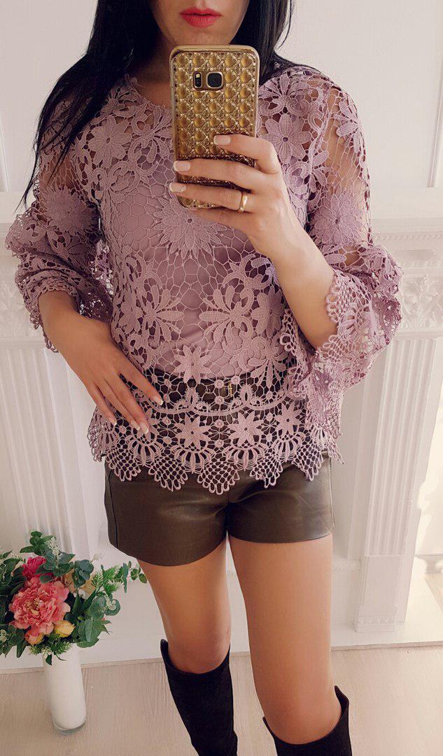 Блуза с топом набивное кружевом рукав воланчик
