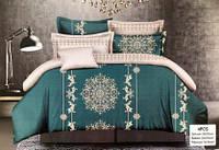 Красивый комплект постельного белья зеленого цвета с узором Код:652309908