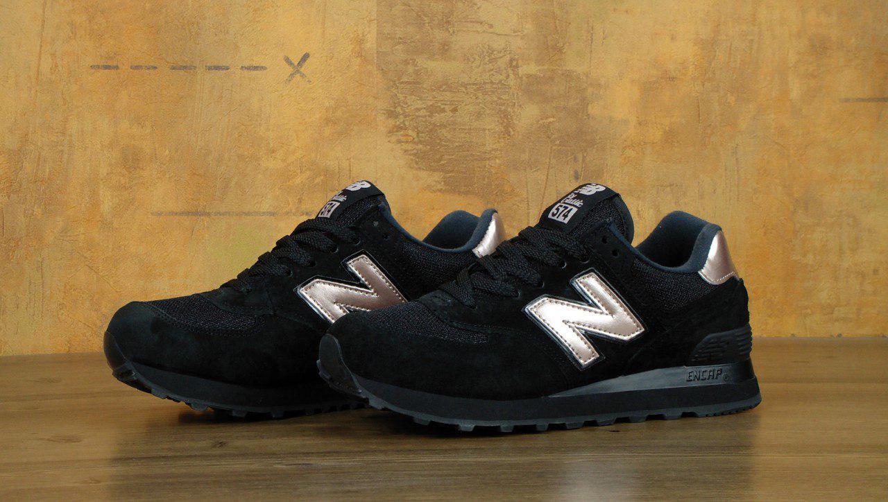 Женские кроссовки New Balance 574 (черные), ТОП-реплика