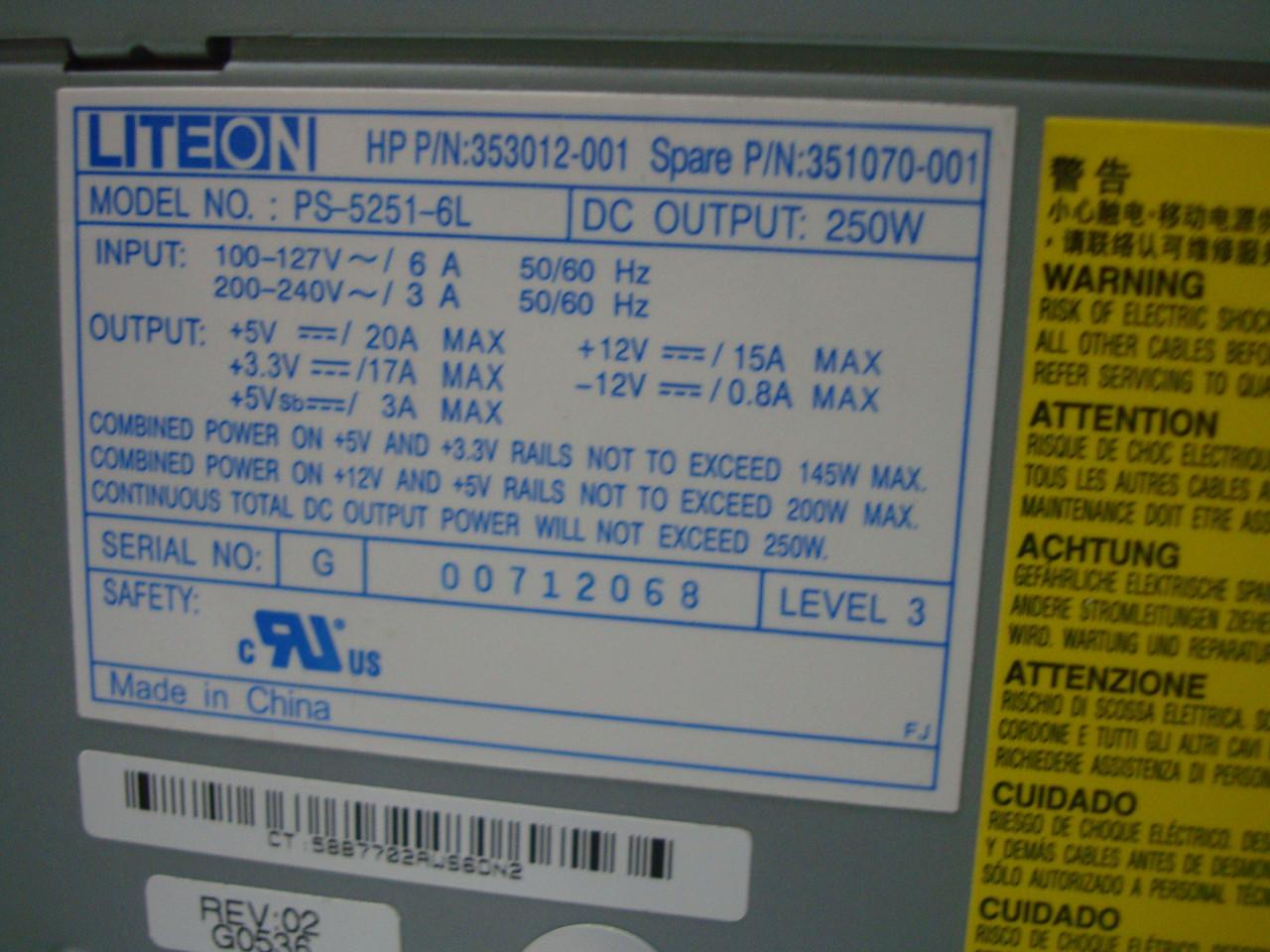 Блок питания LiteOn PS-5251-6L 250 ватт