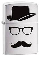 Зажигалка ZIPPO 28648 Top Hat Glasses And Mustache