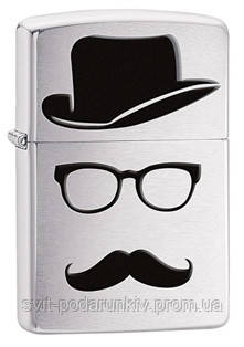 Зажигалка ZIPPO 28648 Top Hat Glasses And Mustache, фото 2