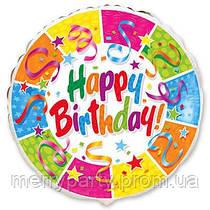 """Happy Birthday! серпантин 18"""" (45 см) круг Flexmetal Испания шар фольгированный"""