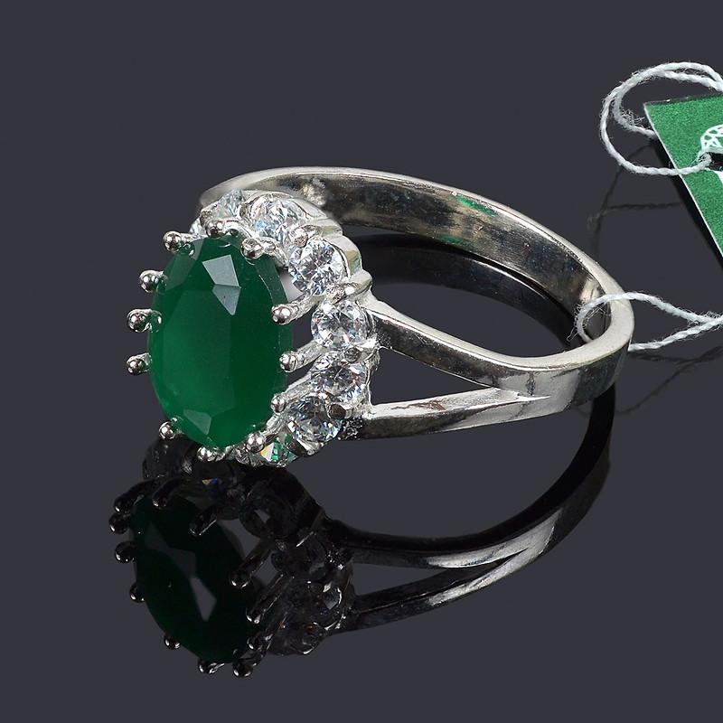 Кольцо Малинка с зеленым камнем 19 размер