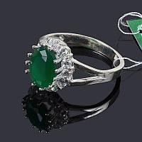 Кольцо Малинка с зеленым камнем