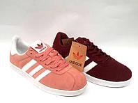 Кроссовки женские Adidas Gazelle замшевые бордо/розовый AD0073