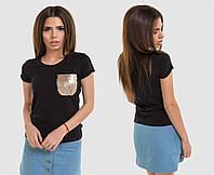 Футболка женская с карманом черная ОД/-5423