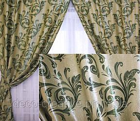 """Комплект готовых штор  блэкаут, """"Лилия"""". Цвет зеленый 127ш (Б) 2 шторы шириной по 1м."""