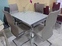Стол стеклянный раскладной Т-231-8 серый 90-150х70х75 H