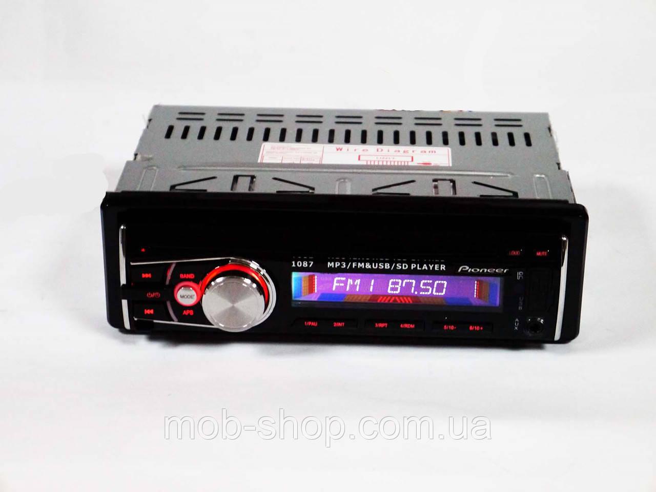 Автомагнитола пионер Pioneer 1087 съемная панель USB+SD+AUX