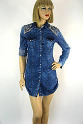 Жіноча джинсова сорочка-туніка оброблена перлинками