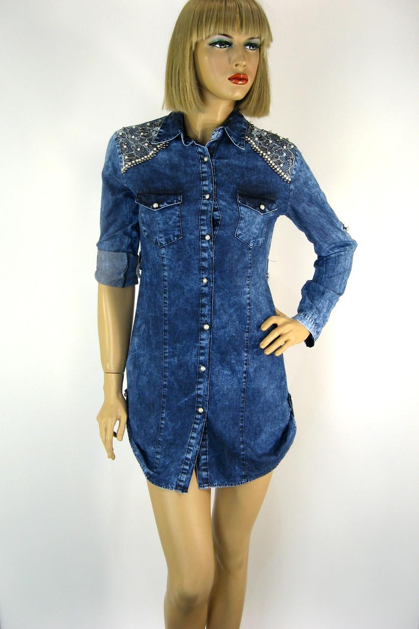 Жіноча джинсова туніка оброблена перлинками