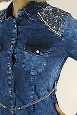 Жіноча джинсова туніка оброблена перлинками, фото 3
