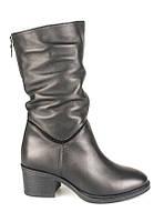 Сапоги женские демисезонные Faletti кожаные низкий каблук черные Uk0528