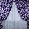 """Комплект готовых штор  блэкаут """"Вензель"""" двусторонний. Цвет фиолетовый  184ш (А), фото 2"""