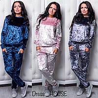 Женский стильный костюм из мраморного бархата/велюра: свитшот и штаны (3 цвета)