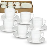 Набор чайный стеклокерамика Белый квадрат 210мл 12 предметов 30123-02