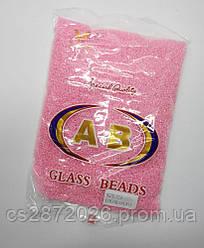 Бисер мелкий №10, прозрачный, розовая серединка.