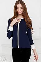 Контрастная шифоновая блуза. Большие размеры.Цвет сине-белый.