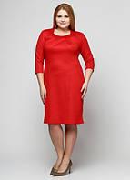 Красное платье с карманами П167