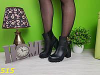 Ботинки деми на тракторной подошве удобный каблук, фото 1