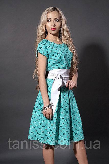 Молодежное летнее платье из стрейч коттона с кожаным поясом, р.44,46 бирюза (249)