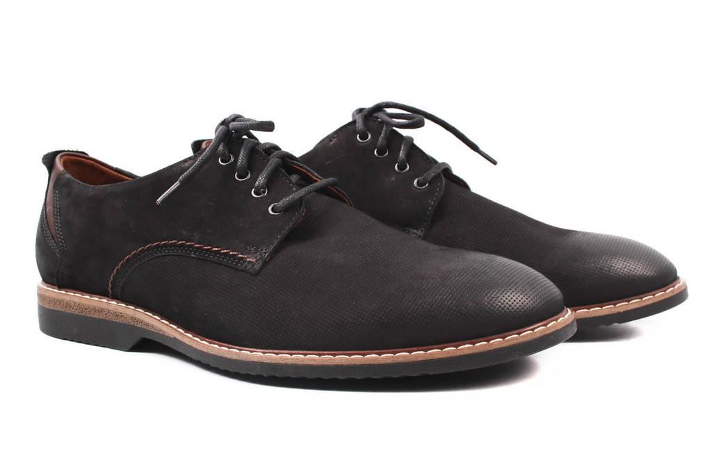 Туфли мужские Krisbut нубук, цвет черный (мокасины, каблук, весна\осень, Польша)