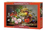 "Пазли ""Натюрморт з квітами і кошик з фруктами"" Castorland 2000 елементів"