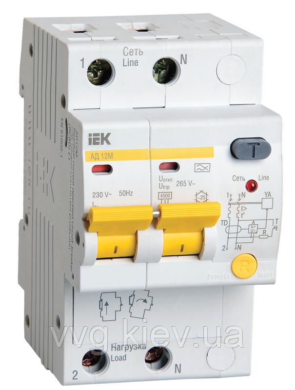 Дифференциальный автоматический выключатель АД12М 2Р C16 30мА IEK