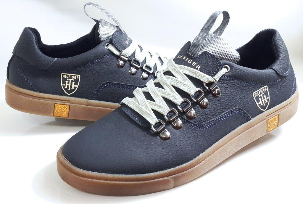 Мужские кожаные кеды TOMMY HILFIGER model M-23, качество, синие ... 7b7d043bdf5