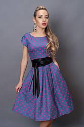 Молодежное летнее платье из стрейч коттона с кожаным поясом, р.44,46 джинс в розовый горох (249)