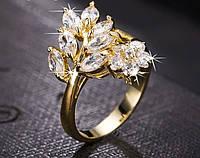 Позолоченное кольцо с цирконами р 17 18 код 1048 Код:491452935