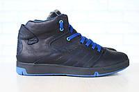 Мужские спортивные зимние ботинки, на меху, кожаные, черные