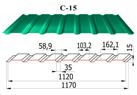 Стеновой профнастил с полимерным покрытием С15