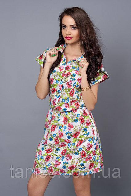 Летнее  платье-рубашка из креп шифона,с поясом, по талии  резинка, р-р 50-52 белое в цветы (475)