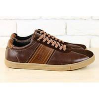 Кеды мужские коричневые  кожаные на шнурках