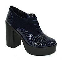 Женски синие туфли на высоком устойчивом каблуке, на шнуровке, натуральная кожа питон и замша. 38 размер