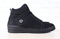 Мужские спортивные зимние ботинки, на меху, из натурального нубука, черные