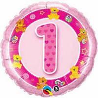 """Круг с цифрой """"1"""" розовый 18"""" (45 см) круг Qualatex США шар фольгированный"""