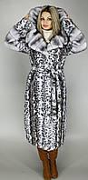 Шуба женская,серый леопард М62