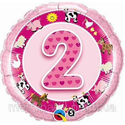 """Круг с цифрой """"2"""" розовый 18"""" (45 см) круг Qualatex США шар фольгированный"""