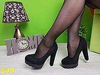 Туфли на тракторной подошве черные, фото 1