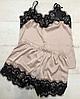 Женская шелковая пижама бежевая 002/а